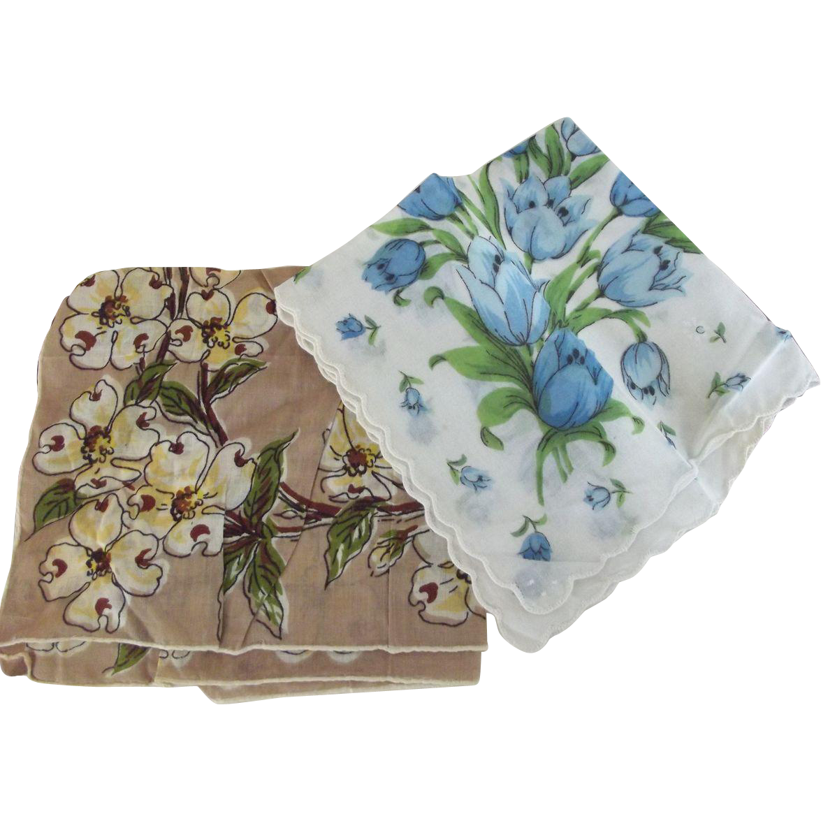 Handkerchief Lot Dogwood, Blue Tulips and  Wedding Whites