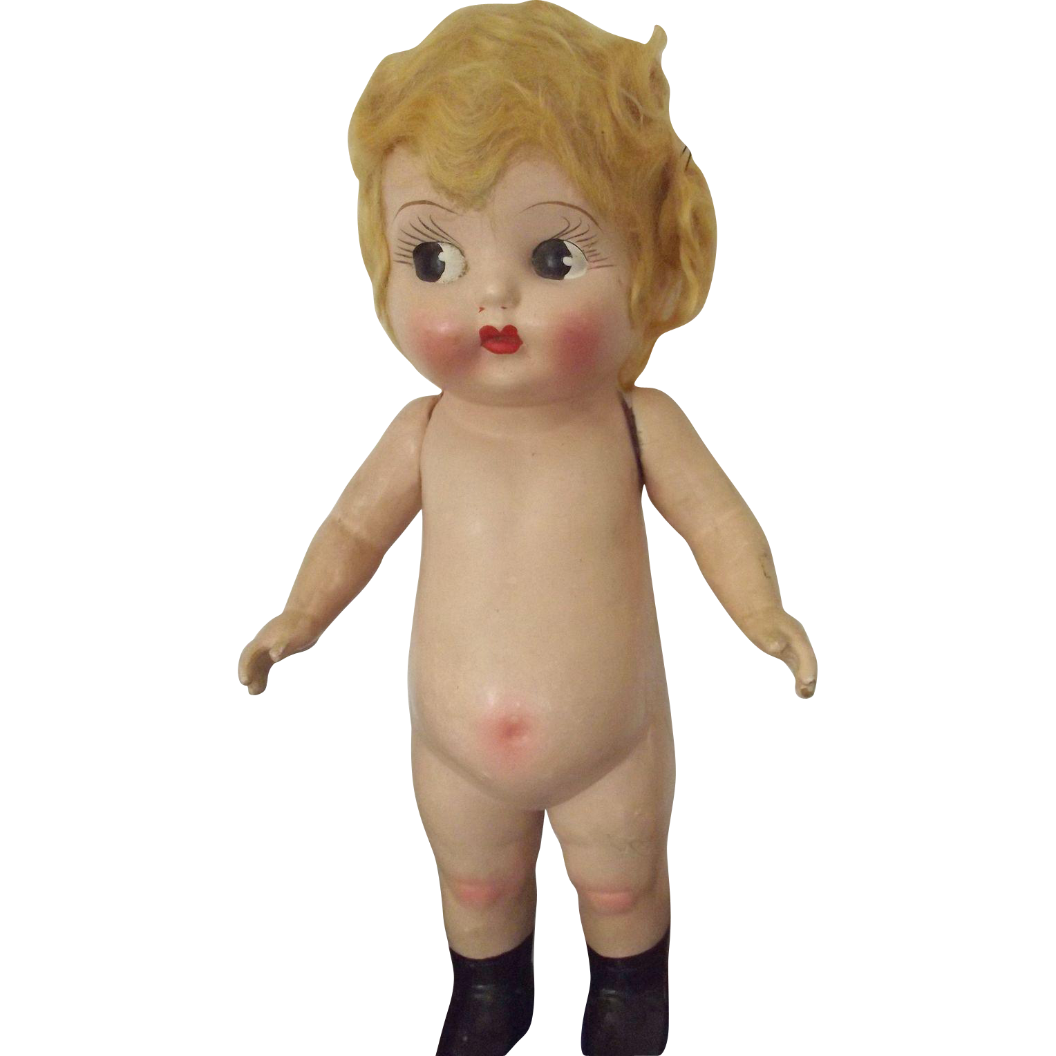 Flapper Carnival Doll With Googley Eyes and Pot Belly