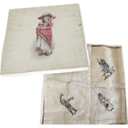 Old Child's Handkerchief In original Box, Embroidered Signal Man, Sailor Boy and Lady With Purse