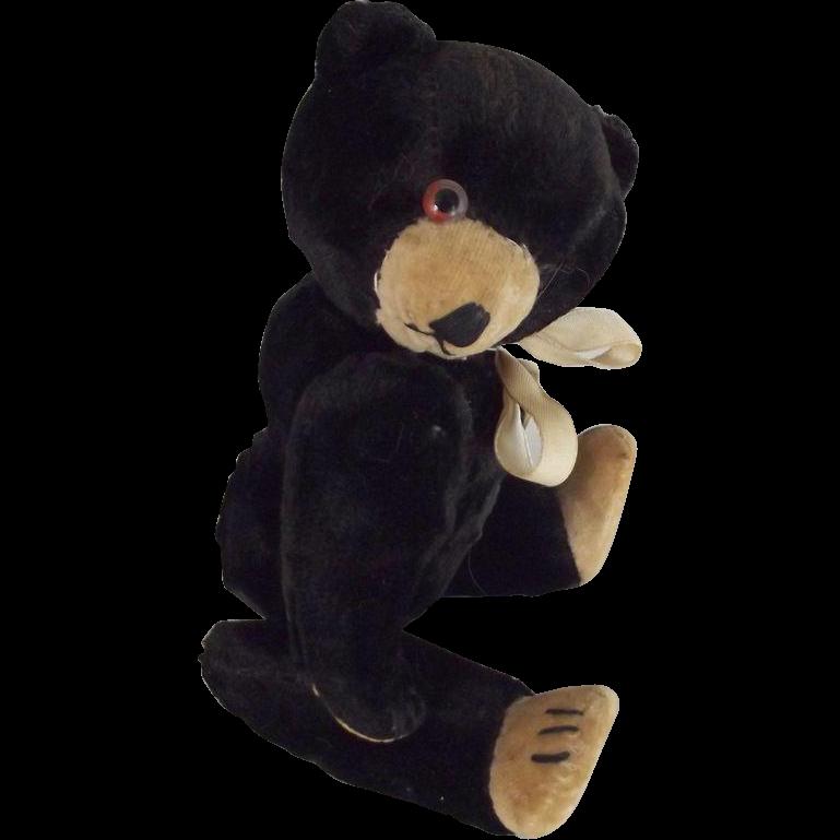 Velvet Panda Bear, Straw Stuffed, Glass Eyes