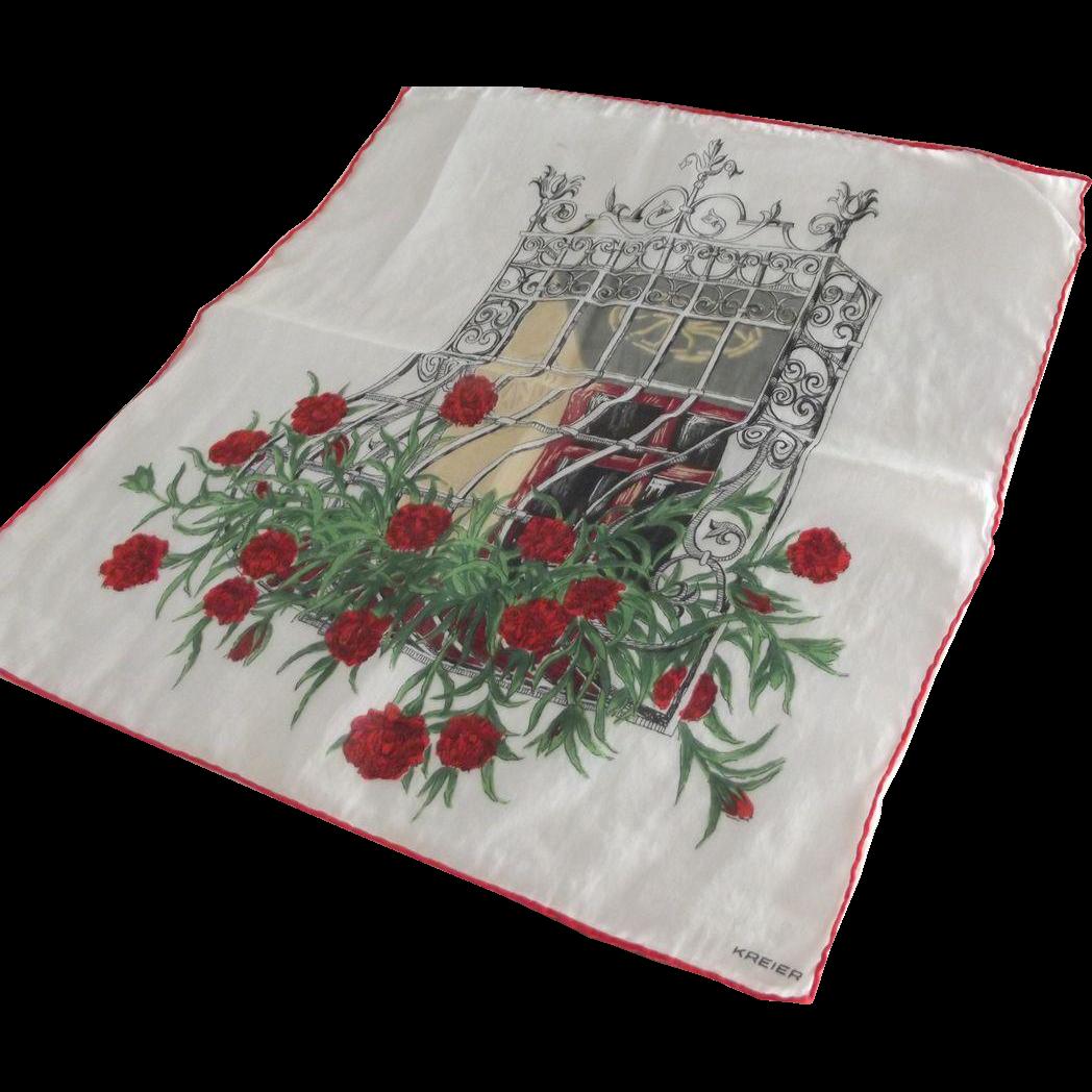 Kreier Handkerchief Window Arbor With Chrysanthemums From