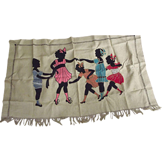 1920's Wall Hanging With Children Felt, Linen,Embroidery