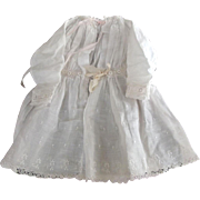Doll Dress With Embroidery, Lace and  Drawstrings