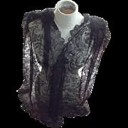 Victorian/Edwardian Black Lace Shawl