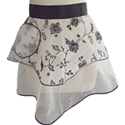 Black and White Apron With Silver Rick Rack and Sparkles, 40's or 50's
