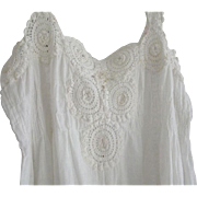 Nightgown With Heavy Crochet, Rosettes,