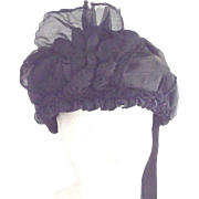 Victorian Chiffon Mourning Hat