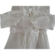 Victorian/Edwardian Net and Embroidered Christening Gown Great On A Large Doll