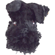 Black Straw Stuffed Schnauzer With Original Bell and Collar