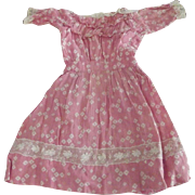 Pink Lace Trimmed, Hand-Stitched Dress