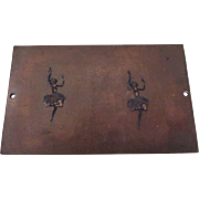 Small Brass or Bronze Plaque With Dancing Girl Figures