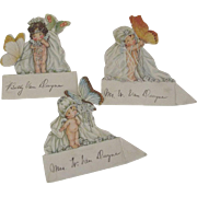 Three Drayton Like Place Cards With Butterflies
