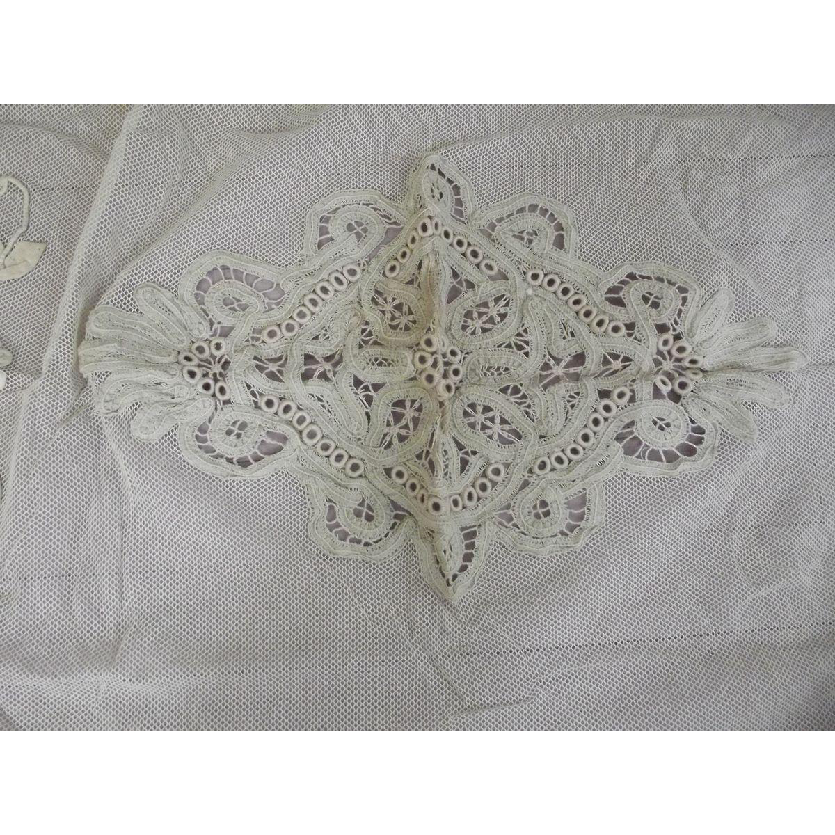 Victorian Net and Open Work Bed Topper/Pillow Topping
