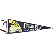 Cedar Point On Lake Erie, Ohio Flag Pennant With Bathing Beauty