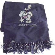 Mickey Mouse Football Scarf 1940's 1950's Vintage Disney Accessory