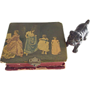 Shabby  Tiny Celluloid Box With Little Bull  Dog Doll Size