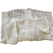 Victorian/Edwardian Baby/Toddler Dress With Embroidery, Insertion at Waist Tiny Tucks Good For A Large Doll