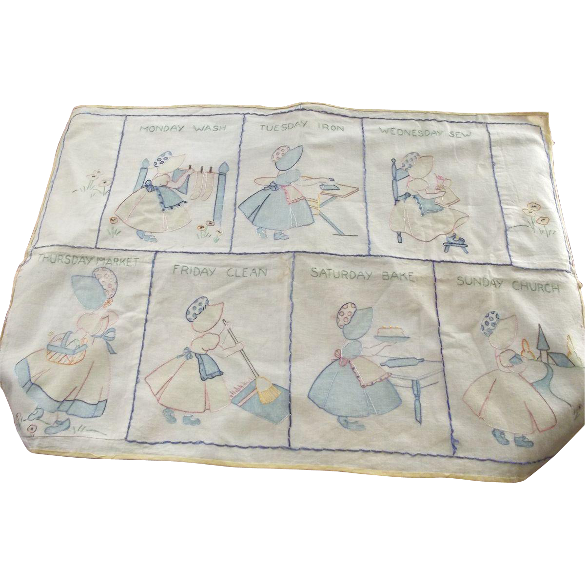 Sunbonnet Babies Days of The Week Wall Hanging or Table Cloth