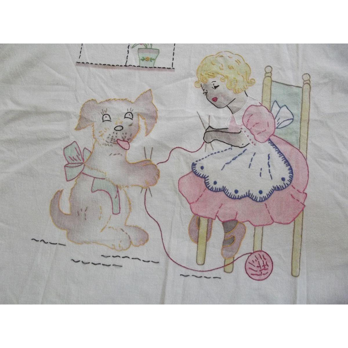 Embroidered Crib Cover or Wall Hanging, Child Knitting With Dog