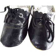 Black Oil Cloth Doll Shoes With Original Ties