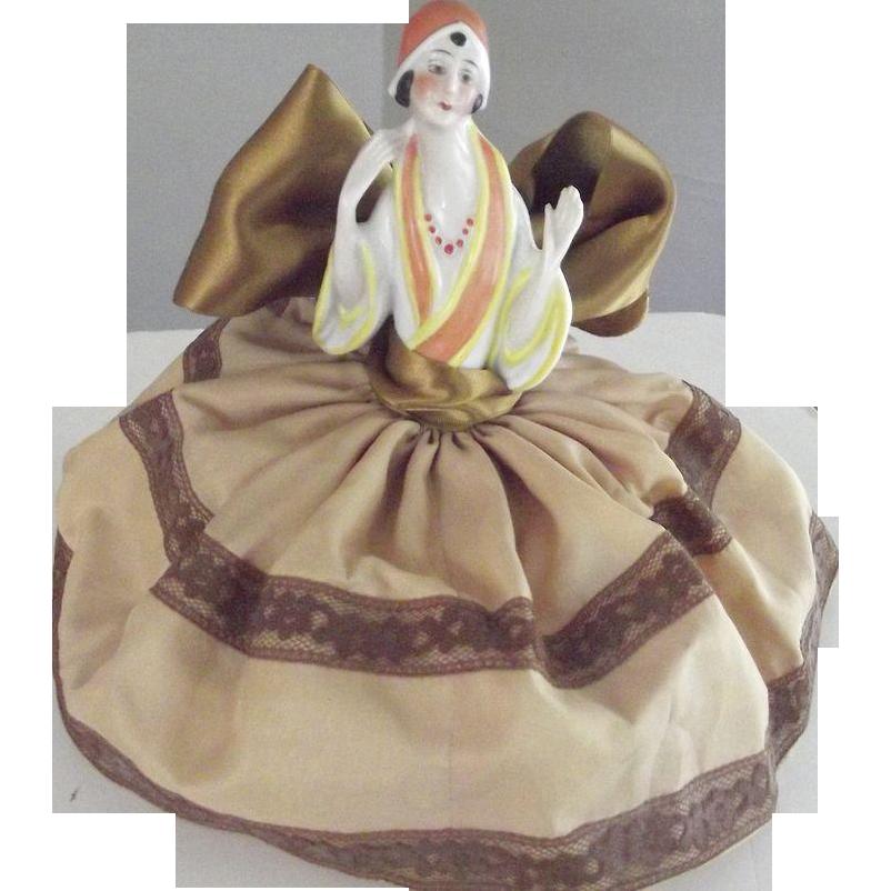 German Art Deco Pincushion or Half  Doll On Cushion