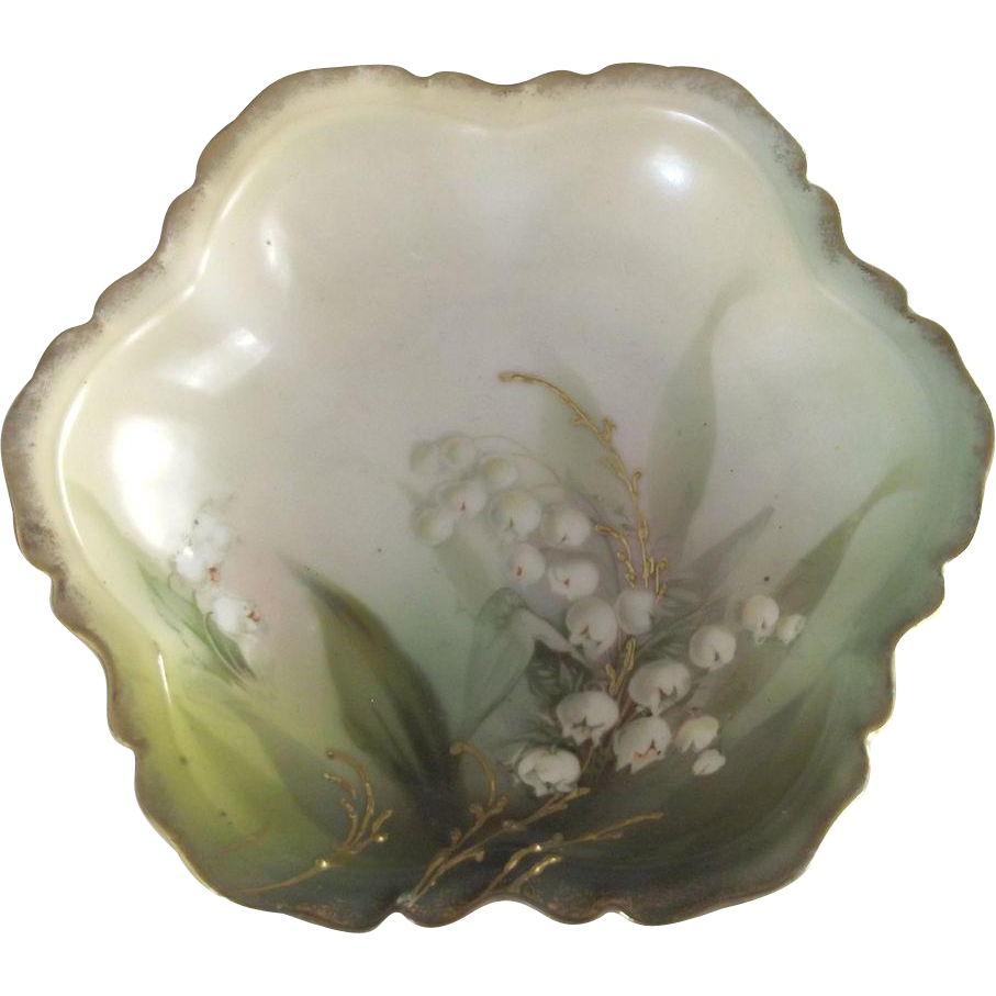 R.S.Prussia Small  Porcelain Bowls With Lily of the Valley and Gold Highlights