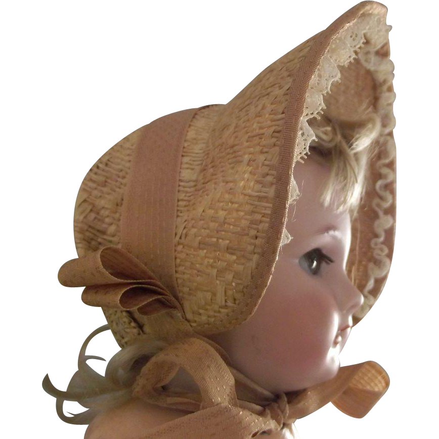 Straw Bonnet For Doll