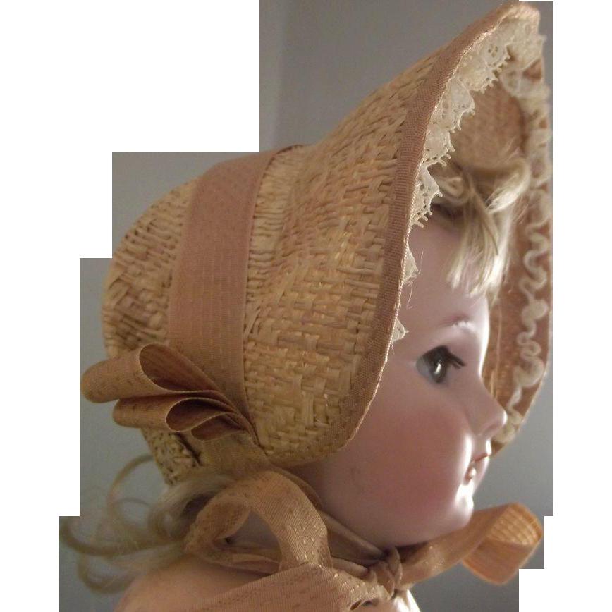 Straw Bonnet For Doll