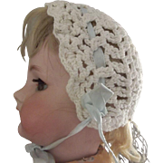 Crocheted Bonnet For Doll