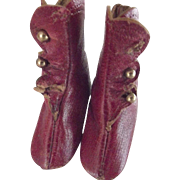 Red Leather Heeled Boots For a Doll
