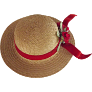 Straw Hat With Red Flowers and Ribbon For Doll