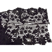 Early Black Lace, Wide, Floral Design, Cotton