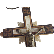 Large Inlaid Wood Cross With Mother of Pearl From  Jerusalem