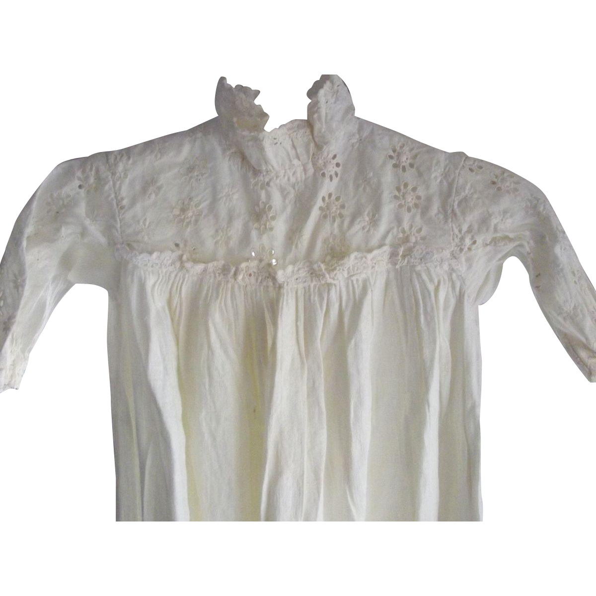 Victorian/Edwardian Baby or Large Doll Gown With Eyelet Bodice and Sleeves