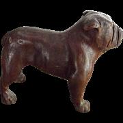 Small Wood Carved Bulldog