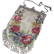 Floral Beaded Bag As Is With Fancy Frame, Rosette Lining