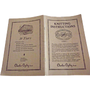 "Knitting Instructions, 1920""s Patterns, Charles Oglivy Store Advertisements, Ottawa Canada"