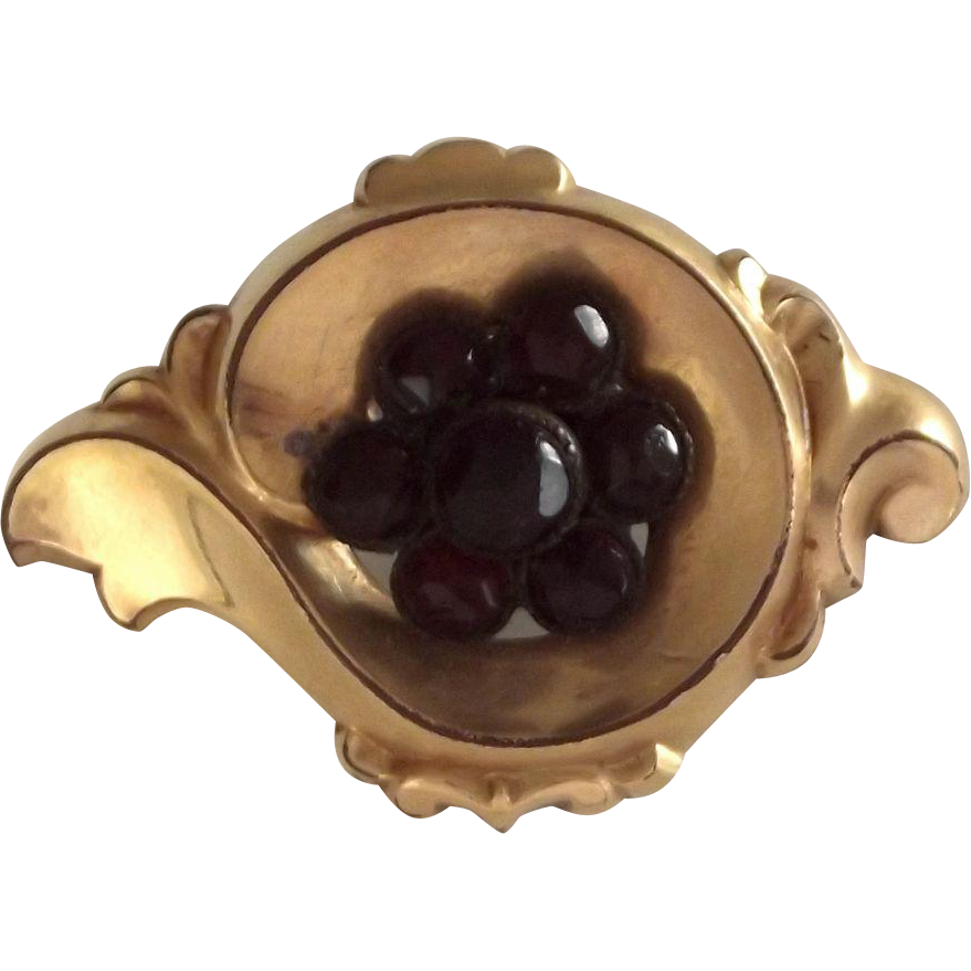 Fancy Victorian Pin with Simulated Garnet Center