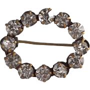 Early Rhinestone Oval Pin Clear Rhinestones Gold Tone Metal