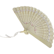 Celluloid Small Hand Painted Fan With Roses and Lavender Colored Flowers