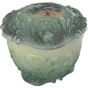 Victorian/Edwardian Satin Glass Dress Jar With Lions and A Pansy Flower