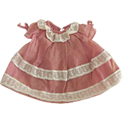 Pink Vintage Organdy Dress For Small Doll