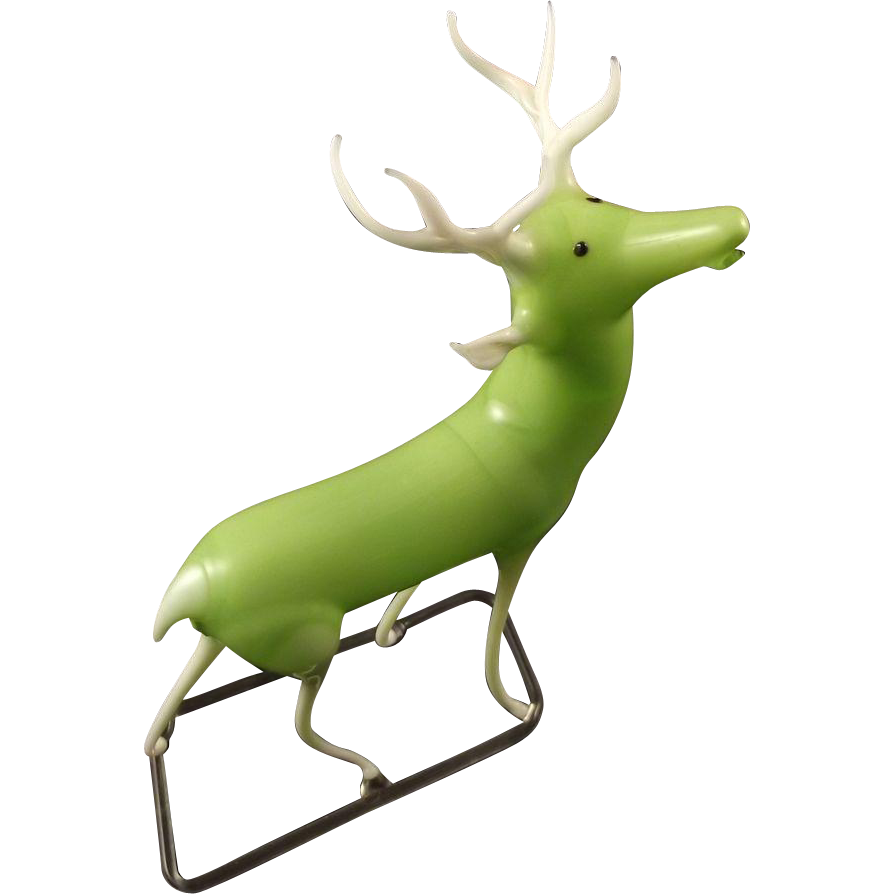 Uranium Glass Stag Made In Germany Original Label