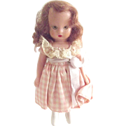 Hard Plastic Story Book Doll With Taffeta Dress