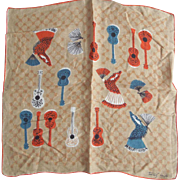 Tammis Keefe  Vintage Handkerchief With Guitars and Flameco Dancers - Red Tag Sale Item