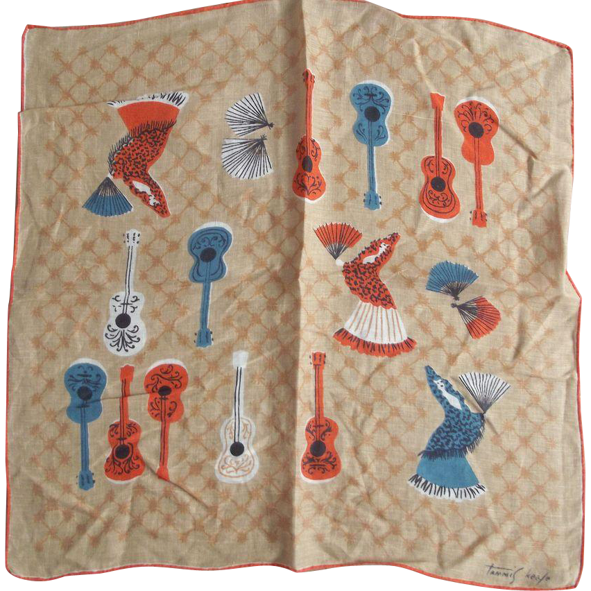 Tammis Keefe  Vintage Handkerchief With Guitars and Flameco Dancers