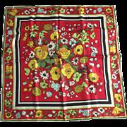 Vintage  Made In France Floral Silk Scarf Made For Eugenie Buchener N.Y.