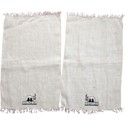 Pair of Tiny Finger Towels With Cats, One Has Damage