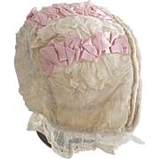 Baby Bonnet, Good For Large Doll, Ribbon, Lace and Netting