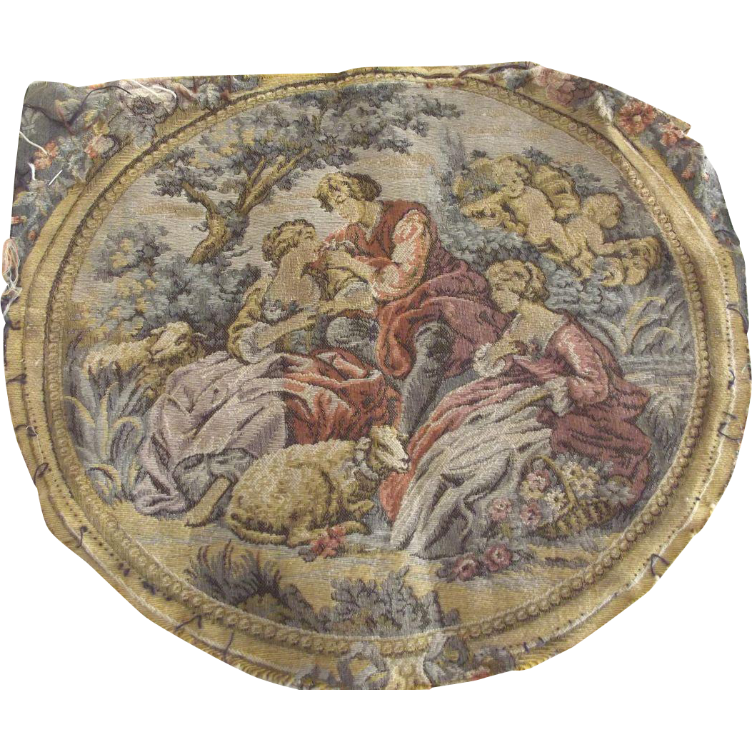 Pair of Matching Tapestries, Pastoral Scene With Cherubs, Women, Sheep and a Man